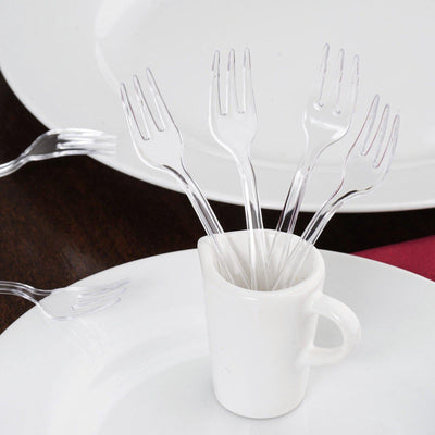 "36 Pack 4"" Clear Chambury Plastic Disposable Cake Dessert Forks"