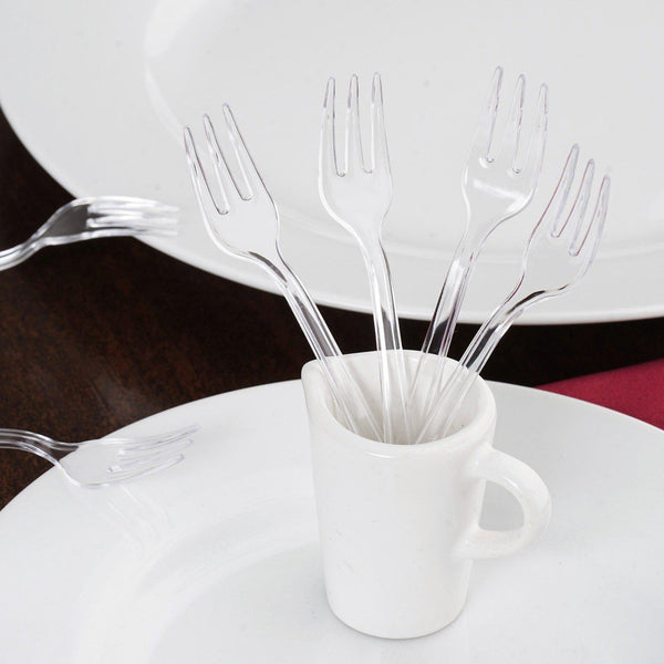 "36 Pack | 4"" Mini Clear Heavy Duty Plastic Forks 