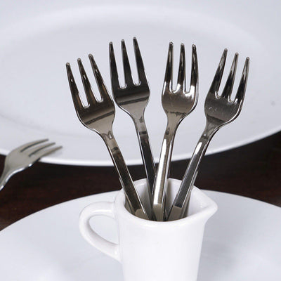 "36 Pack 4"" Silver Chambury Plastic Disposable Cake Dessert Forks"