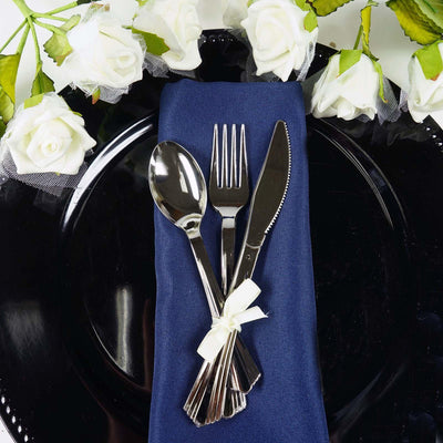 "25 Pack 6"" Silver Premium Quality Disposable Salad Dessert Spoons"