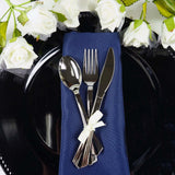 "25 Pcs 6"" Silver Premium Quality Disposable Salad Dessert Spoons"