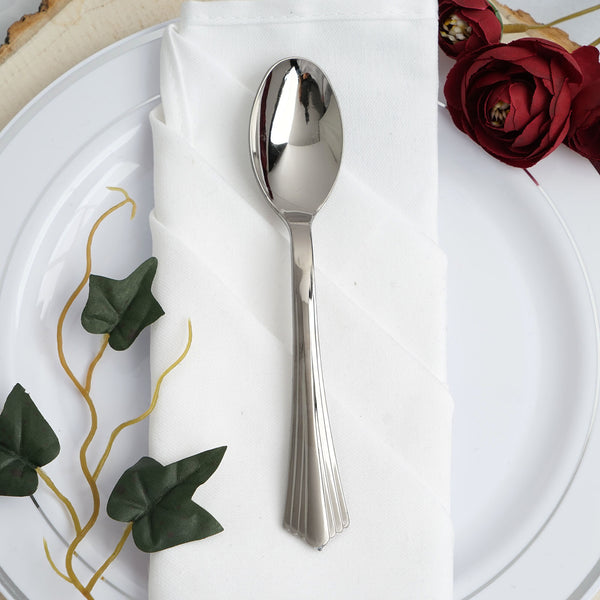 "Set of 25 | 6"" Silver Heavy Duty Plastic Spoon 