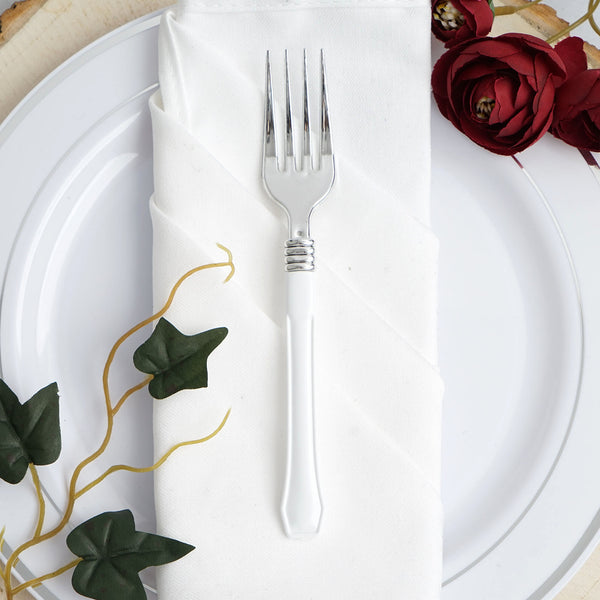 "25 Pack | 7"" Silver Heavy Duty Plastic Forks with White Handle 