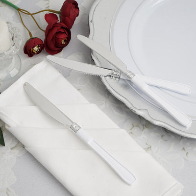 Silver Plastic Knife with White Handle, Plastic Silverware