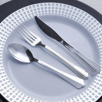 "25 Pcs 7"" Silver Chambury Plastic Disposable Fork"