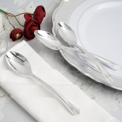 "25 Pack 7"" Polished Silver Chambury Plastic Disposable Spoon"