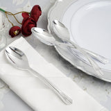 "25 Pcs 7"" Polished Silver Chambury Plastic Disposable Spoon"