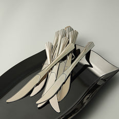 "25 Pack 8"" Polished Silver Chambury Plastic Disposable Knives"