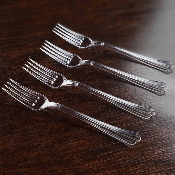 "Set of 25 | 7"" Clear Chambury Heavy Duty Plastic Forks 