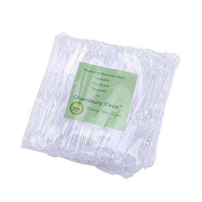 "100 Pack 4"" Clear Disposable Plastic Forks"