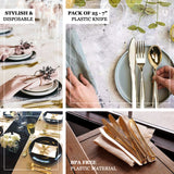 "25 Pack | 7"" Metallic Gold Heavy Duty Plastic Knife 