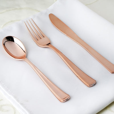 30 Pack Rose Gold Metallic Disposable Plastic Set