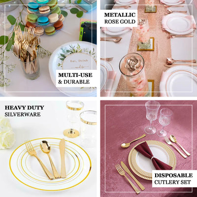 "30 Pack Metallic Blush/Rose Gold Heavy Duty Plastic Silverware Set | Disposable Cutlery Set  - 7"" & 8"""
