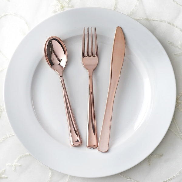 30 Pack Rose Gold Metallic Disposable Plastic Cutlery Set & Disposable Dinnerware \u2013 tableclothsfactory.com