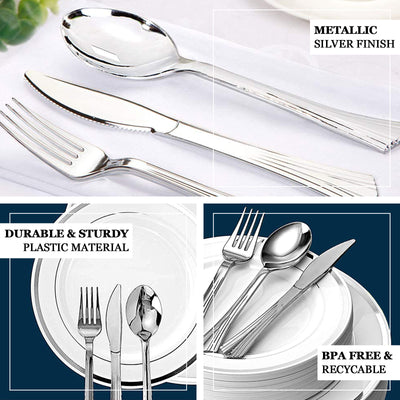 "25 Pack | 8"" Silver Chambury Heavy Duty Plastic Knife 