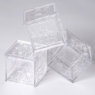 "Set of 12 | 2"" Clear Fillable Baby Blocks 