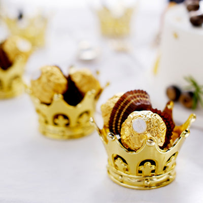 12 Pack | 3 inch Fillable Gold Crown Wedding Favor Containers, Party Favors