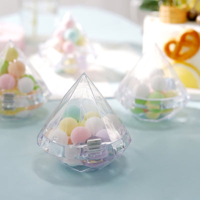 12 Pack | 3.5inch Transparent Diamond Shaped Candy Containers, Wedding Party Favors