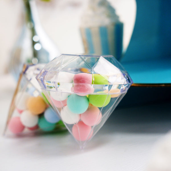 "12 Pack | 3.5"" Clear Diamond Favor Candy Containers"