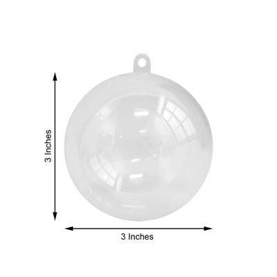 12 Pack | 3 inch Fillable Clear Ornament Ball, Plastic Bath Bomb Molds