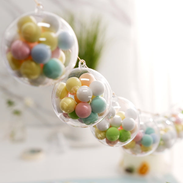 "12 Pack | 3"" Clear Fillable Ornament Balls, Candy Container Favors"