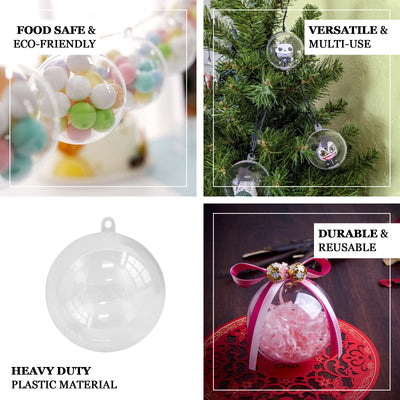 12 Pack | 3 inch Fillable Clear Ornament Balls, Wedding Favor Containers
