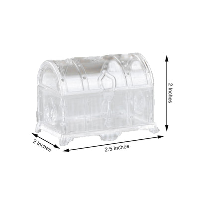 "12 Pack | 3"" Clear Treasure Chest Favor Candy Boxes"