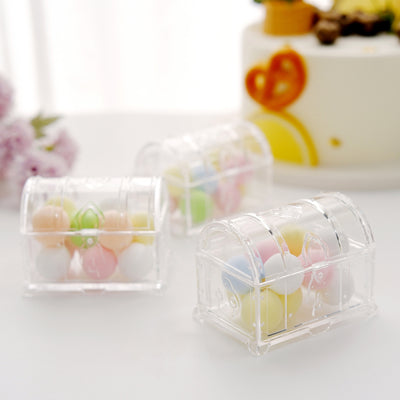 12 Pack | 3 inch Clear Treasure Chest Favor Boxes, Wedding Favors, Party Favors
