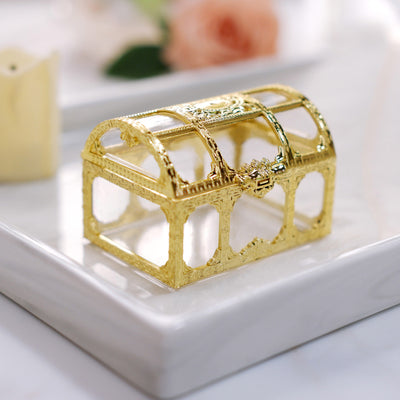 12 Pack |  3 inch Gold Treasure Chest Favor Box, Wedding Favors, Party Favors