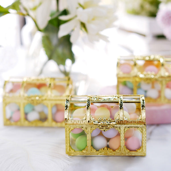 "12 Pack |  3"" Gold Treasure Chest Favor Candy Boxes"
