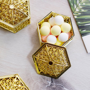 12 Pack | 3 inch Gold Hexagon Box, Candy Container, Party Favors