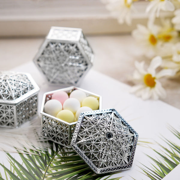"12 Pack | 3"" Silver Hexagon Favor Candy Boxes"
