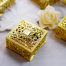 12 Pack | 2 inch Gold Vintage Square Candy Boxes, Wedding Party Favor Containers
