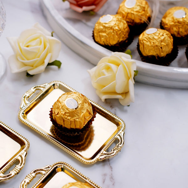 "12 Pack | 4"" Gold Rectangular Mini Candy Display Tray Favors"