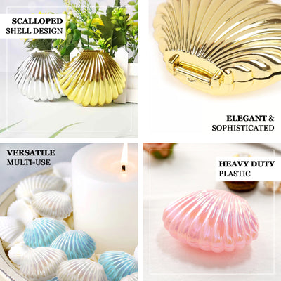 "12 Pack | 3.5"" Blue Plastic Sea Shell Table Scatter Décor, Vase Fillers"