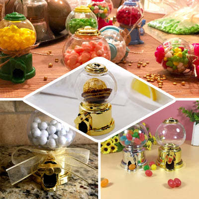 "6 Pack | 3.5"" Gold Mini Favor Candy Dispenser, Mini Gumball Machine"