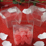 "25 Pack Plastic Clear Take Out Favor Candy Boxes With Handle - 3"" x 2"" x 3"""