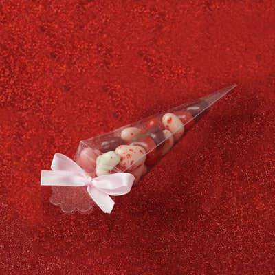 "25 Pack Plastic Clear Cone Favor Candy Boxes - 2"" x 2"" x 6"""