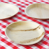 "25 Pack 10"" Eco-Friendly Palm Leaf Disposable Round Dinner Plates"