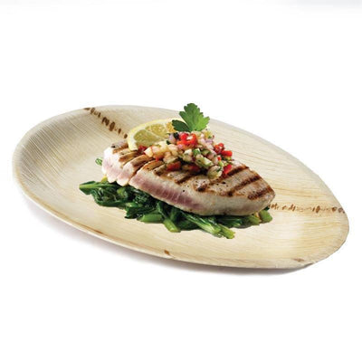 "25 Pack 10"" Eco-Friendly Palm Leaf Disposable Oval Serving Plates"