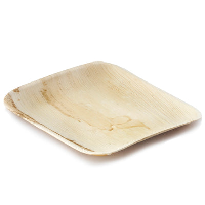 "25 Pack 10"" Eco-Friendly Palm Leaf Disposable Square Dinner Plates"