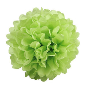 "6 Pack 8"" Apple Green Paper Tissue Fluffy Pom Pom Flower Balls"