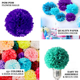 "6 Pack 16"" Purple Paper Tissue Fluffy Pom Pom Flower Balls"
