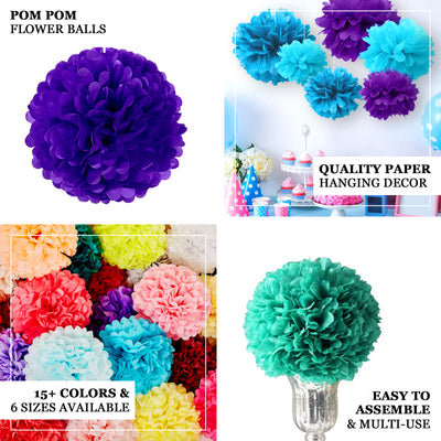 "6 Pack 12"" Gold Paper Tissue Fluffy Pom Pom Flower Balls"