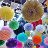 "6 Pack 14"" Gold Paper Tissue Fluffy Pom Pom Flower Balls"