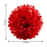 "6 Pack 8"" Red Paper Tissue Fluffy Pom Pom Flower Balls"