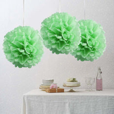 "6 Pack 10"" Tea Green Paper Tissue Fluffy Pom Pom Flower Balls"
