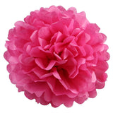 12 PCS Paper Tissue Wedding Party Festival Flower Pom Pom - Fushia - 6""