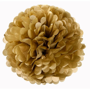 12 PCS Paper Tissue Wedding Party Festival Flower Pom Pom - Gold - 6""