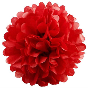 12 PCS Paper Tissue Wedding Party Festival Flower Pom Pom - Red - 8""